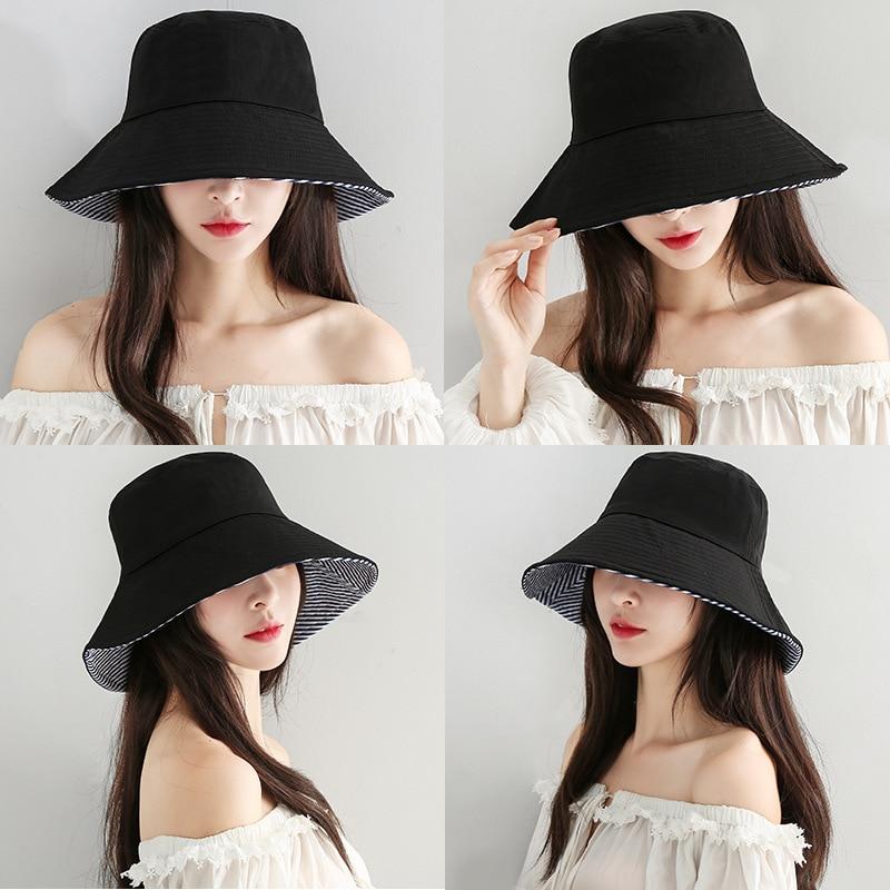 Autumn Hat Women Lovers Literary Hip Hop Folding Basin Cap Korean Creative Sunscreen Double-sided Fisherman Hat Men Bucket Hat