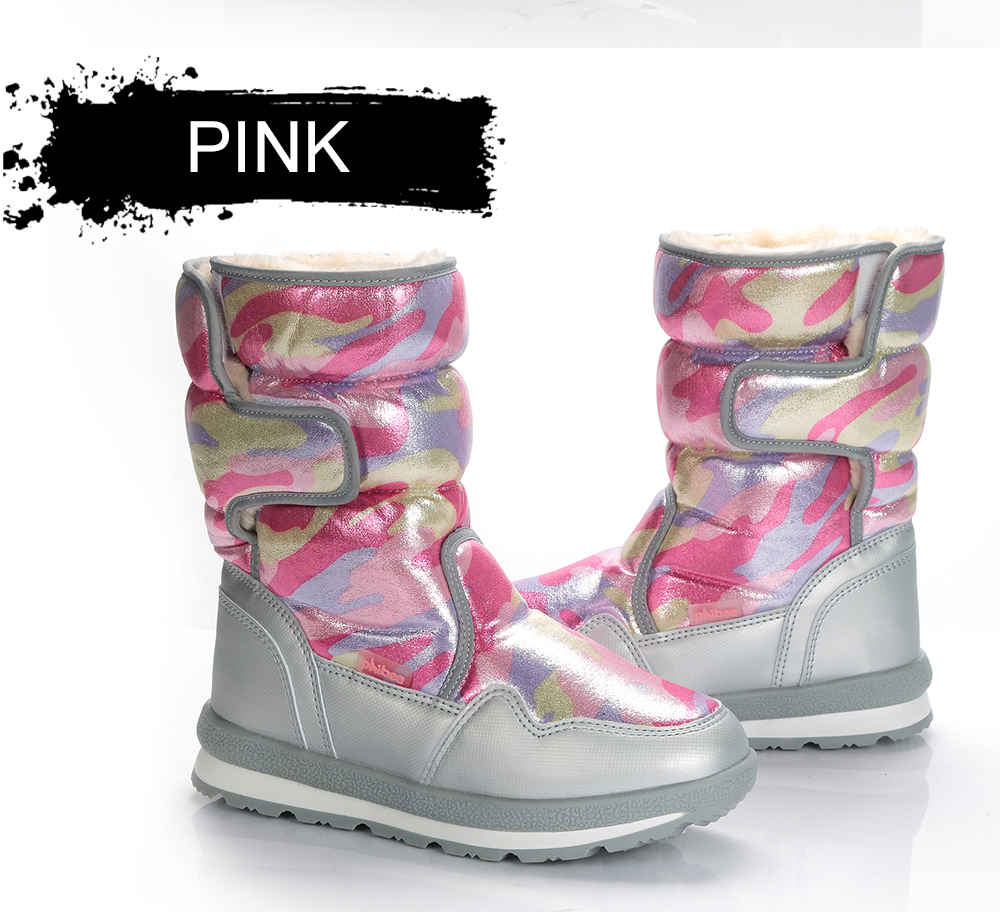 Ветрозащитные водонепроницаемые зимние ботинки для мальчиков и девочек; уличные теплые ботинки для охоты; Теплая обувь на меху; зимние ботинки «милитари»
