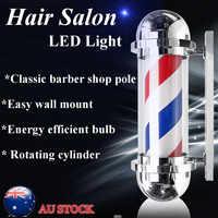 60/75cm Barber Pole Rotating Lighting Beauty Salon Equipment Barber Shop Sign Wall Hanging LED Downlights Red White Blue Stripe