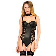 MILLYN sex Lace Garter Teddy Lingerie Sexy Faux Leather Plus Size Lingerie with garters female underwear M XL 3XL 5XL