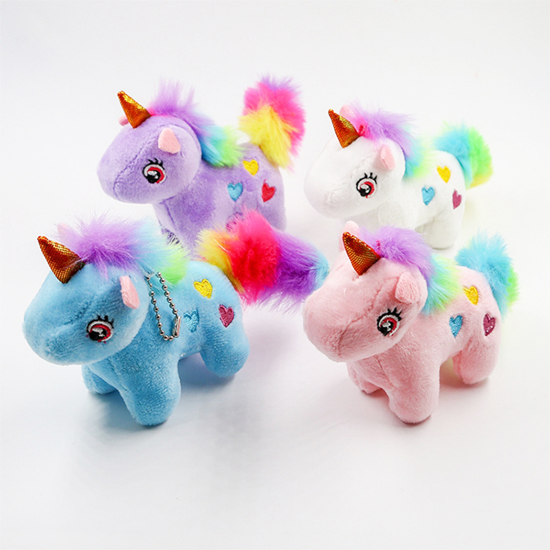 Cute Mini Unicorn Plush Filled Child Toys Keychain Bag Charm Color Filled Plush Cartoon Animal Child Toys Keychain Gift - TOY162