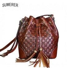 Женские сумочки из натуральной кожи 2017 новый корейский моды дикой моды плеча Сумка роскоши моды баррелей