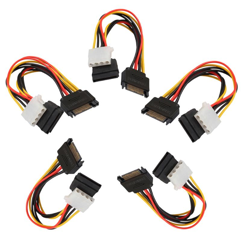 5pcs 15Pin SATA Male to 4Pin IDE Molex Female + SATA Female Power Cable Adapter Cable Computer Connector Power Supply robbe