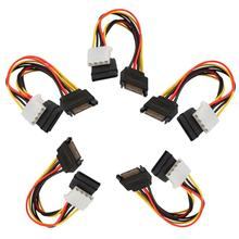 5pcs 15Pin SATA Male to 4Pin IDE Molex Female + SATA Female Power Cable Adapter Cable Computer Connector Power Supply