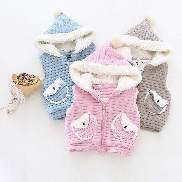 baby girl winter warm fleece vest jacket waistcoat hooded (5)