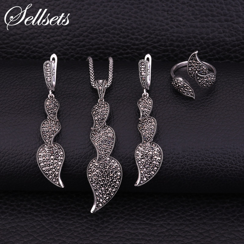 Sellsets New Black Cz Rhinestone Leaf Necklace Earring Ring Vintage Silver Color Luxury Wedding Party Jewlery Set For Women 2018 embossed rhinestone hollow leaf ring