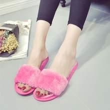 38cf75cee7c Indoor Fur Slippers Autumn Warm Platform Shoes Woman Slip On Soft Flats  Casual Floor Slipper Women Home Shoes