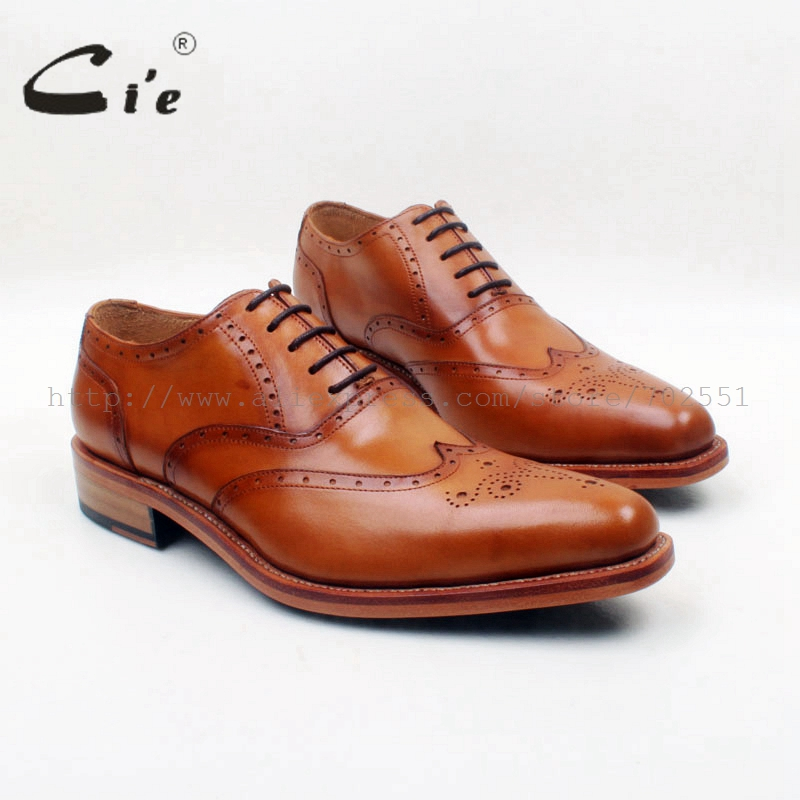cie Pointed Toe Full Brogues Lace-Up Oxfords Patina Brown 100%Full of Genuine Calf Leather Breathable Men's Shoe Goodyear OX682 cie square toe semi brogues lace up oxfords patina purple 100