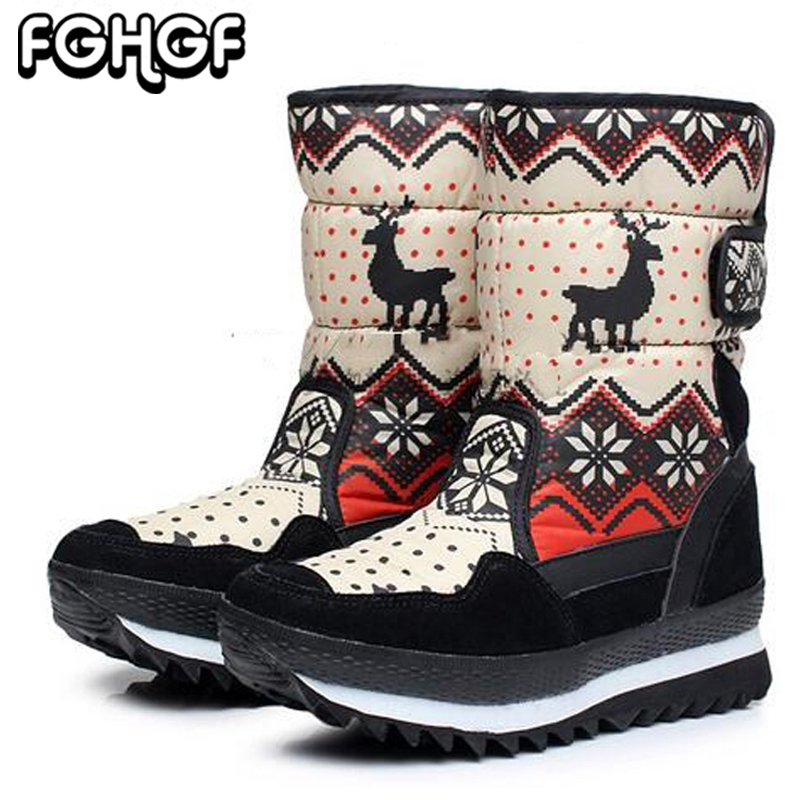 Big Size Winter Women Snow Boots Women Waterproof Keep warm Shoes Female Mid-Calf Platform Boots Lady 2018 New Woman Boots Y149 plus size 34 47 new autumn winter plush women boots mid calf snow boots woman keep warm mother botas butterfly flats roman shoes