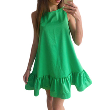 Naiveroo Women Summer Mini Dress Ruffle Casual Cocktail Party Fashion  Sleeveless Sexy Beach Solid Loose Plus 2131c14be549