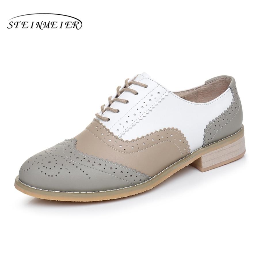 Из натуральной кожи с круглым носком ручной работы на плоской подошве женские американский размер 11 Винтаж 2018 женские туфли-оксфорды Серый ...