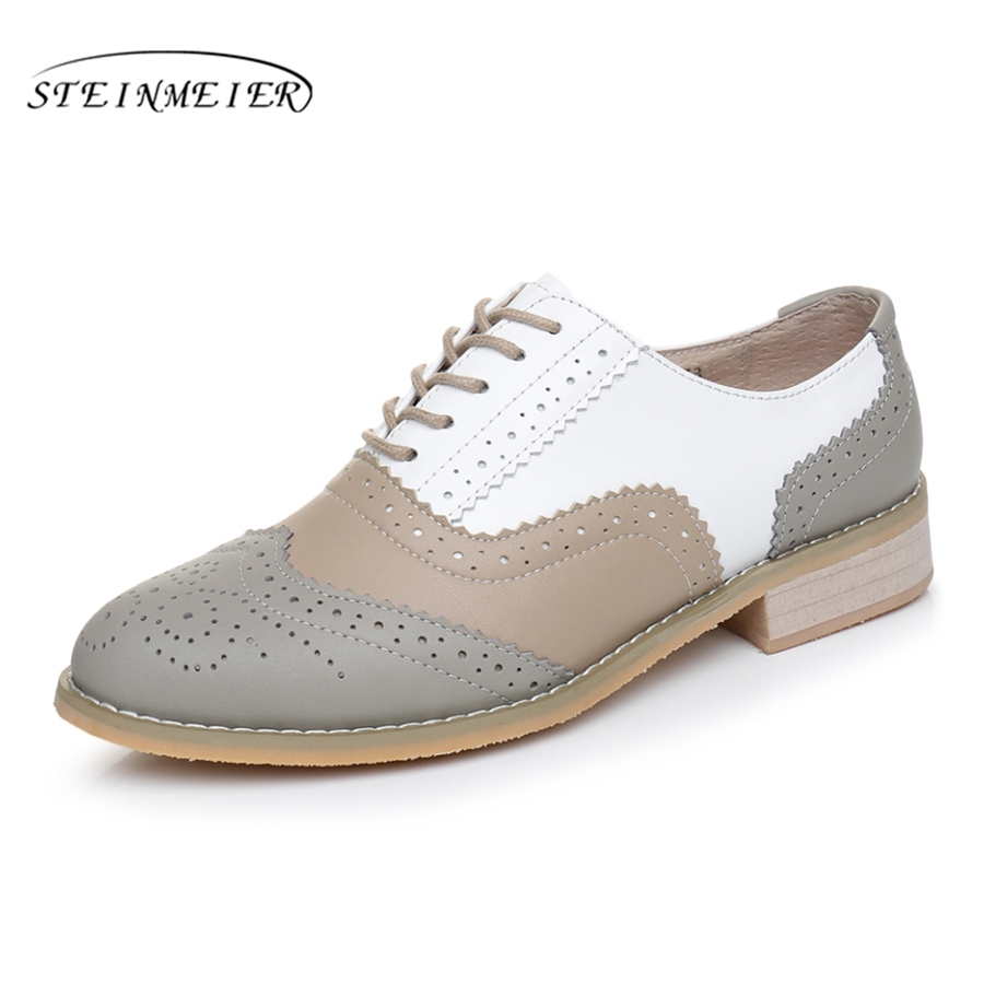 Genuine leather round toe handmade flat shoes big woman US size 11 vintage 2018 oxford shoes for women grey beige white with fur