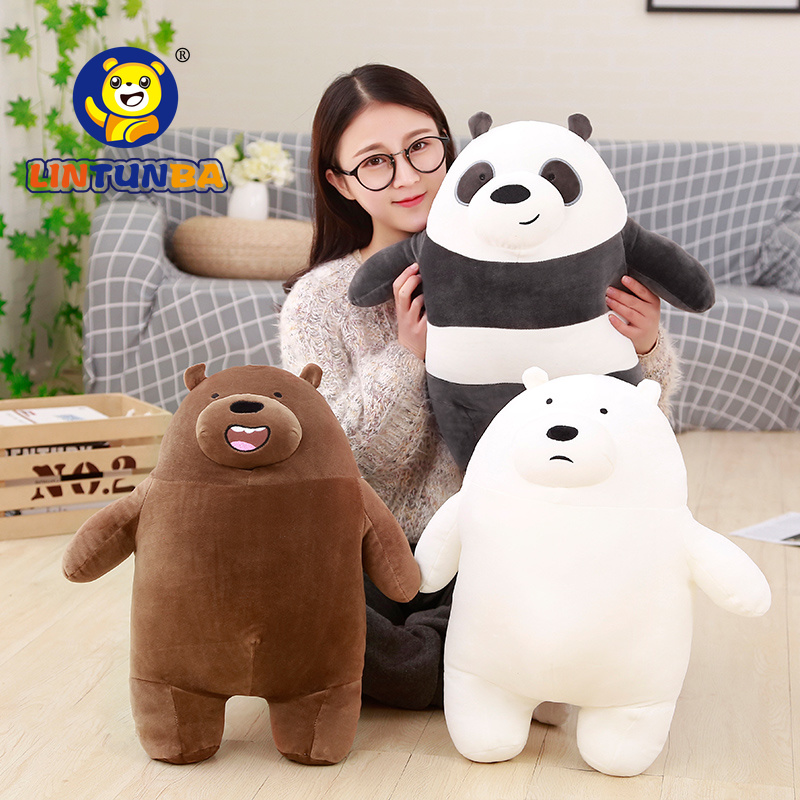 New Arrival3 Styles  Bare Bears Grizzly Peanda Ice Bear Stuffed Animals Cute Soft Plush Toys Children Birthday Gift