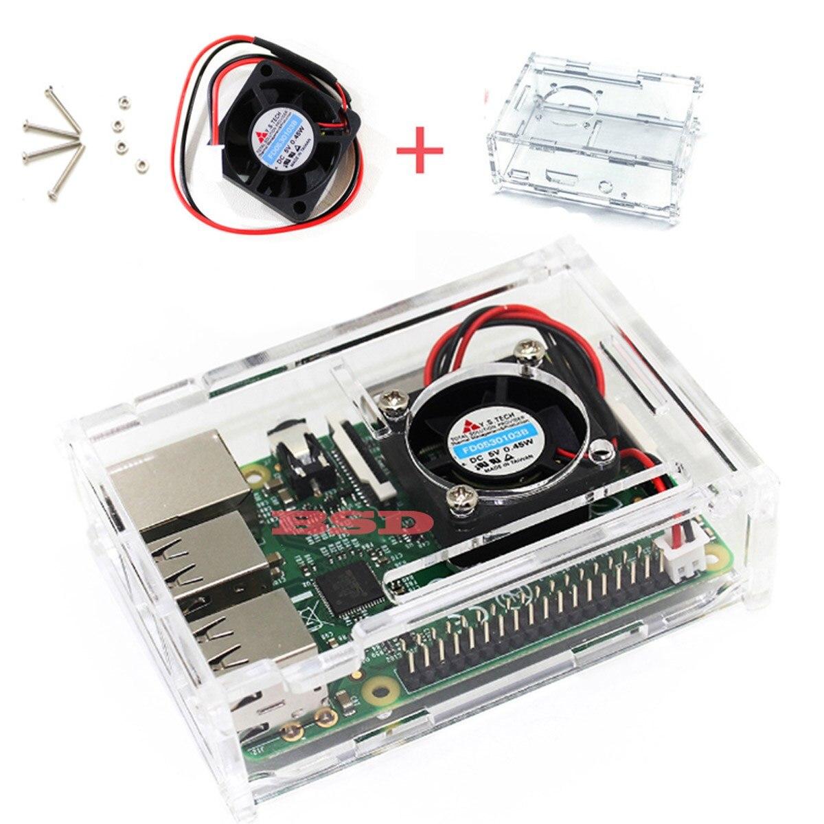 Carcasa carcasa transparente Raspberry Pi 3 con ventilador de refrigeración para Raspberry Pi 2