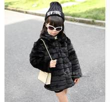 Classic White Black Girls Fur Jacket Brand High Quality Winter Faux Fur Coat European Style Kids Clothing Ladies Kinder Kleidung(China)