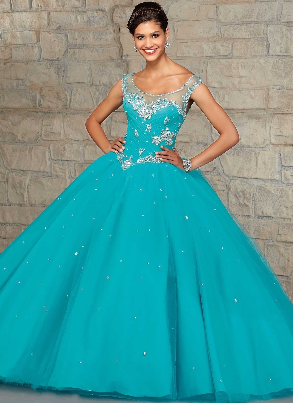 Turquoise Blue Ball Gown Quinceanera Dress Coral Elegant Beaded ...