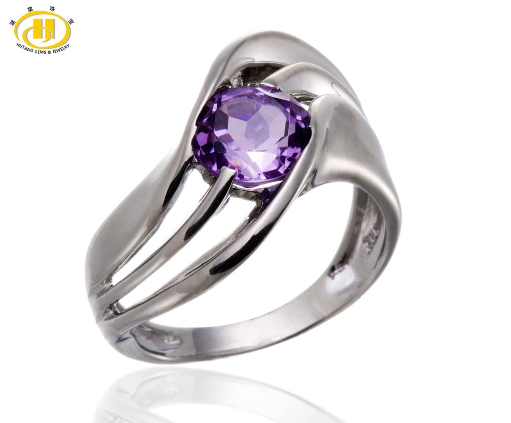 Hutang Natural Amethyst Round 8mm Solid 925 Sterling Silver Solitaire Ring Womens Fashion Gift Jewelry HuTang jewelrypalace trillion 1 1ct natural purple amethyst solitaire ring 100% 925 sterling silver women fashion jewelry big promotion