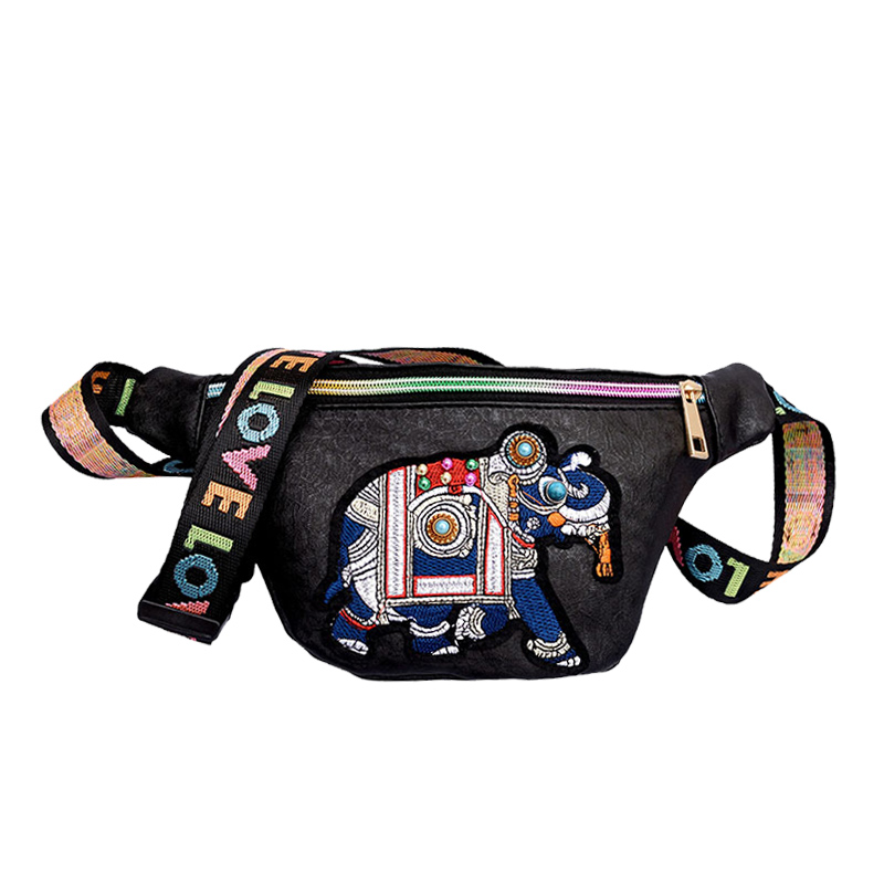 Для женщин вышивка слон Фанни пакеты Поясные сумки дамы кожаный ремень сумка Грудь Сумки Цвета кожи плеча Ремни