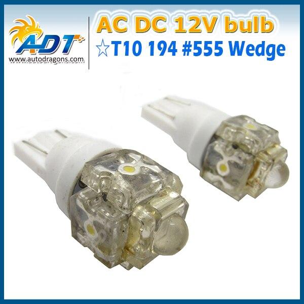 (100 piece) - 5* Piranha led 12-13Volt 1W bright white #555 (T10 194) W5W flasher pinball led lights Pinball game machine parts