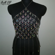 Sexy metal Body Chest chain Crop Tops Women Summer Beach Halter Hollow crystal tassel shirt luxury Nightclub queen Tank top bra