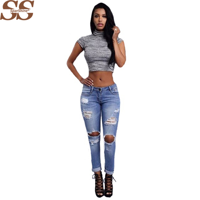 New Year Stylish  Female Ripped Hole Light Blue Denim  Low Waist Jeans Women Trousers