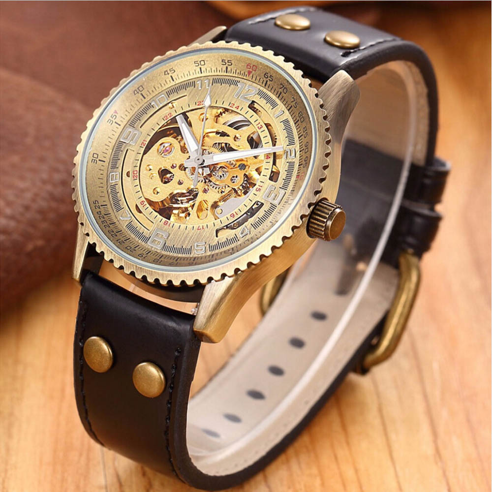 SHENHUA Top Brand Luxury Skeleton font b Watch b font Men font b Steampunk b font