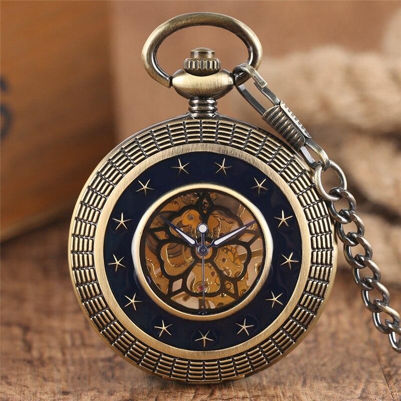 Retro Mechanical Pocket Watch Hollow Epoxy Stars Circle Transparent Flower Face Pendant Chain Creative Men Women Birthday Gifts