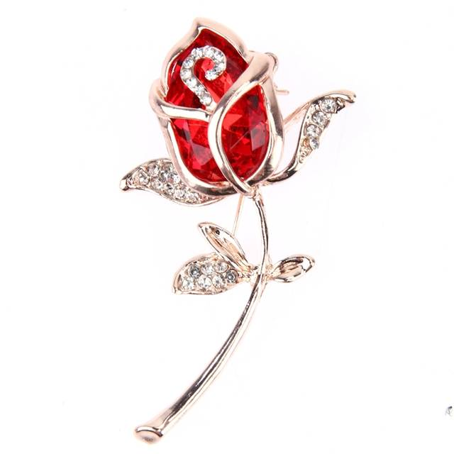 ee50bd75b Crystal Rose Flower Brooch Pin Alloy Rose Gold Brooches Birthday Gift  Garment Accessories Brooch Pins Broches Women-in Brooches from Jewelry &  Accessories ...