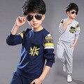 Дети Мальчики комплект одежды осень подростки спортивный костюм школы повседневная детская одежда костюм с капюшоном 2 шт. 4 ~ 13 Т мальчики одежда
