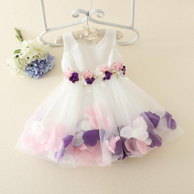 2016 Quality Flower Girls Bubble Dress Infant Baby Birthday Cotton Dress Kids Princess Sleeveless Lace Dress Wedding Party Dress