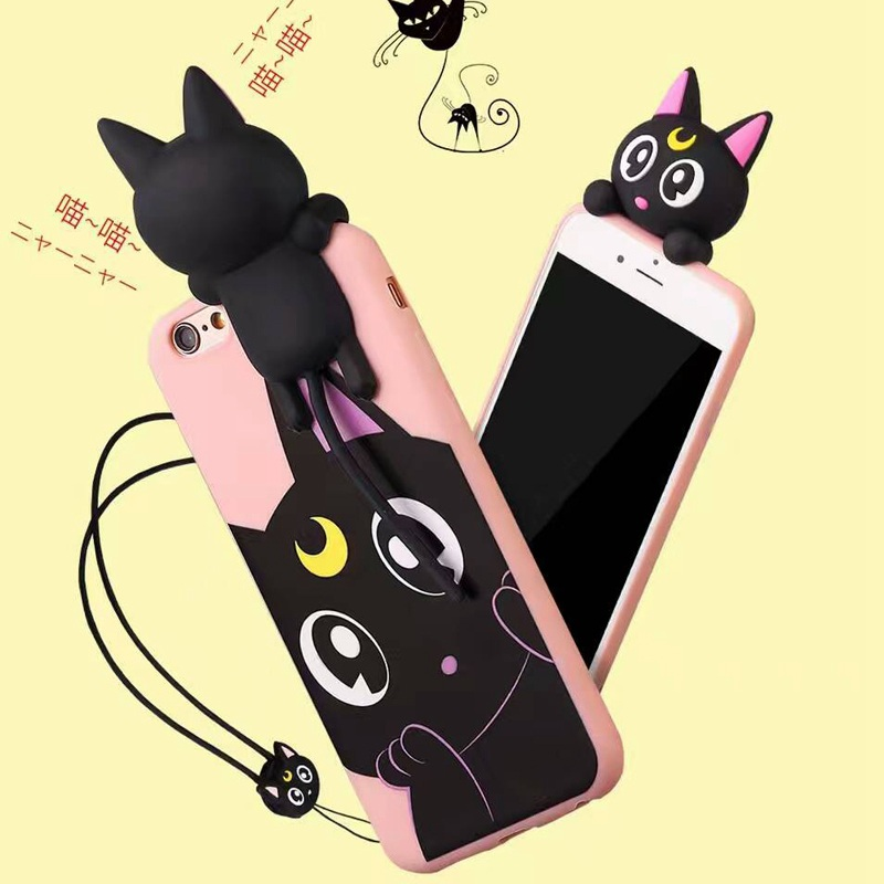 Cute Luna Cat Sailor Moon Cartoon Squishy Phone Case For iPhone 7 8 X 6 6S Plus Head Sound in Pinch Meow Stand 3D Silicone Cover