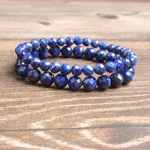 LanLi 6/8mm fashion natural Jewelry faceted stone beads Bracelet DIY Charms Men Strand Beads Yoga Women Bracelets