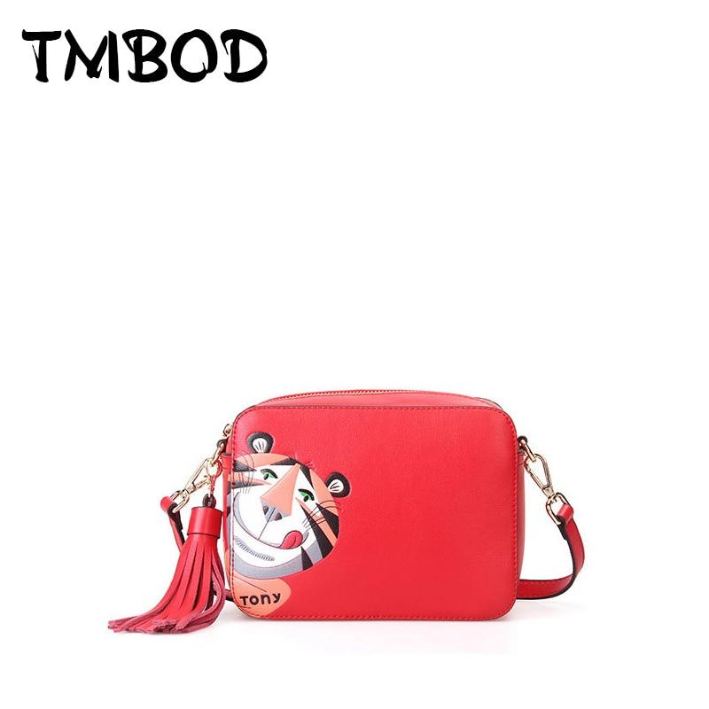 NEW 2017 Anya Tiger Flap Bag with Tassel Tony Crossbody Bag Cowhide Women Split Leather Handbags Ladies Messenger Bags an321