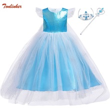 Fancy Baby Girl Princess Elsa Dress With Cape for Girls Clothing Wear Cosplay Elsa Costume Halloween Christmas Party Crown Blue high quality fancy princess elsa costume cosplay dress christmas for girls clothing baby role play halloween dresses with crown