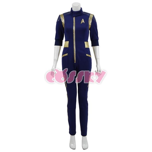Star Trek Discovery Commander Jumpsuit Uniform Cosplay Costume Blue Women Jumpsuit Halloween Costume without Badge 1