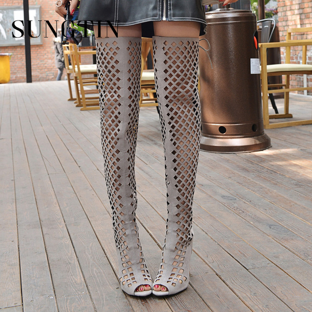 Sungtin Sexy Hollow Out Gladiator Boots Women Over The Knee Boots Summer Shoes Peep Toe High Heels Lady Thigh High Punk Boots
