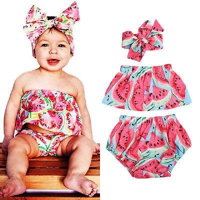 Cute Newborn Kids Baby Girls Shirt+Pants+Floral Headband 3PCS Set Summer Romper Off Shoulder Outfits Clothes