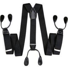 DiBanGu 6 Button Suspenders Men Braces Striped Coffee Y Back Adjustable Male Female British Vintage Trousers Strap