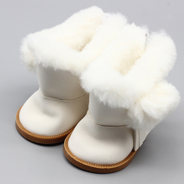 1 Pair Plush Doll Winter Snow Boots For 43cm Baby  Doll And 18 Inch American Doll Girl Mini Shoes For Christmas Gift | american doll