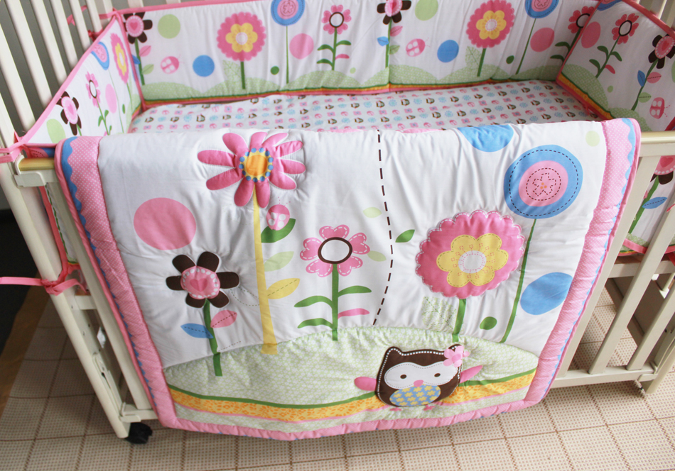 Promotion! 7PCS Embroidery baby bedding crib set 100% cotton crib bumper baby cot sets (bumper+duvet+bed cover+bed skirt)