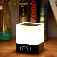 Bluetooth Speaker Night Light Bedside Atmosphere Lights with Alarm Clock Rechargeable Touch Control LED Colorful Night Lamp