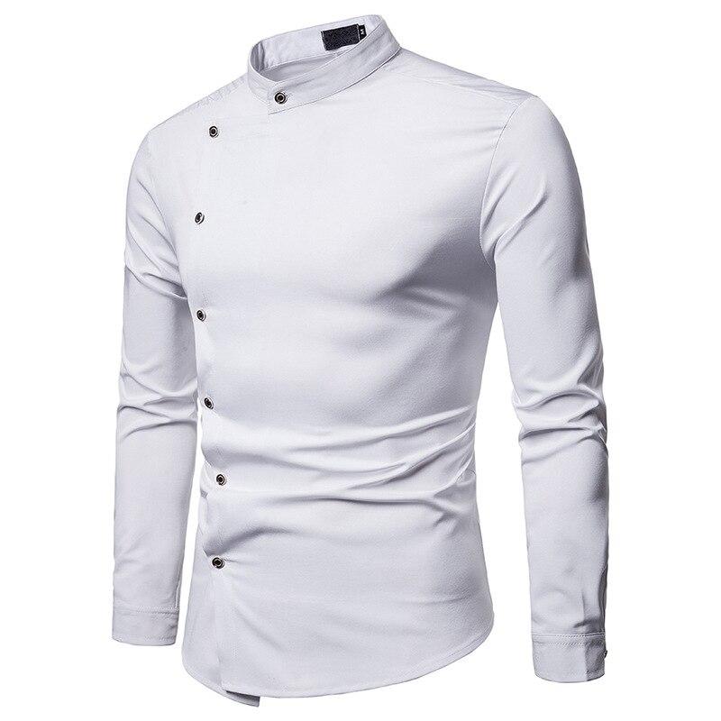 Pandaie Mens Shirts Blouse Long Sleeve Shirt Irregular Button Embroidery Tuxedo Party Dress Shirt Business Shirt