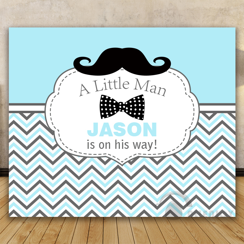 Birthday backdrops Baby Shower Background white blue striped twill – Little Man Birthday Party Invitations