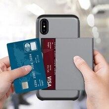Для Iphone X XR XS Max Роскошный кошелек Гибридный слайдер держатель для карт хранения Броня прочный Чехол чехол для Iphone 7 8 6 6s плюс 5 5S SE