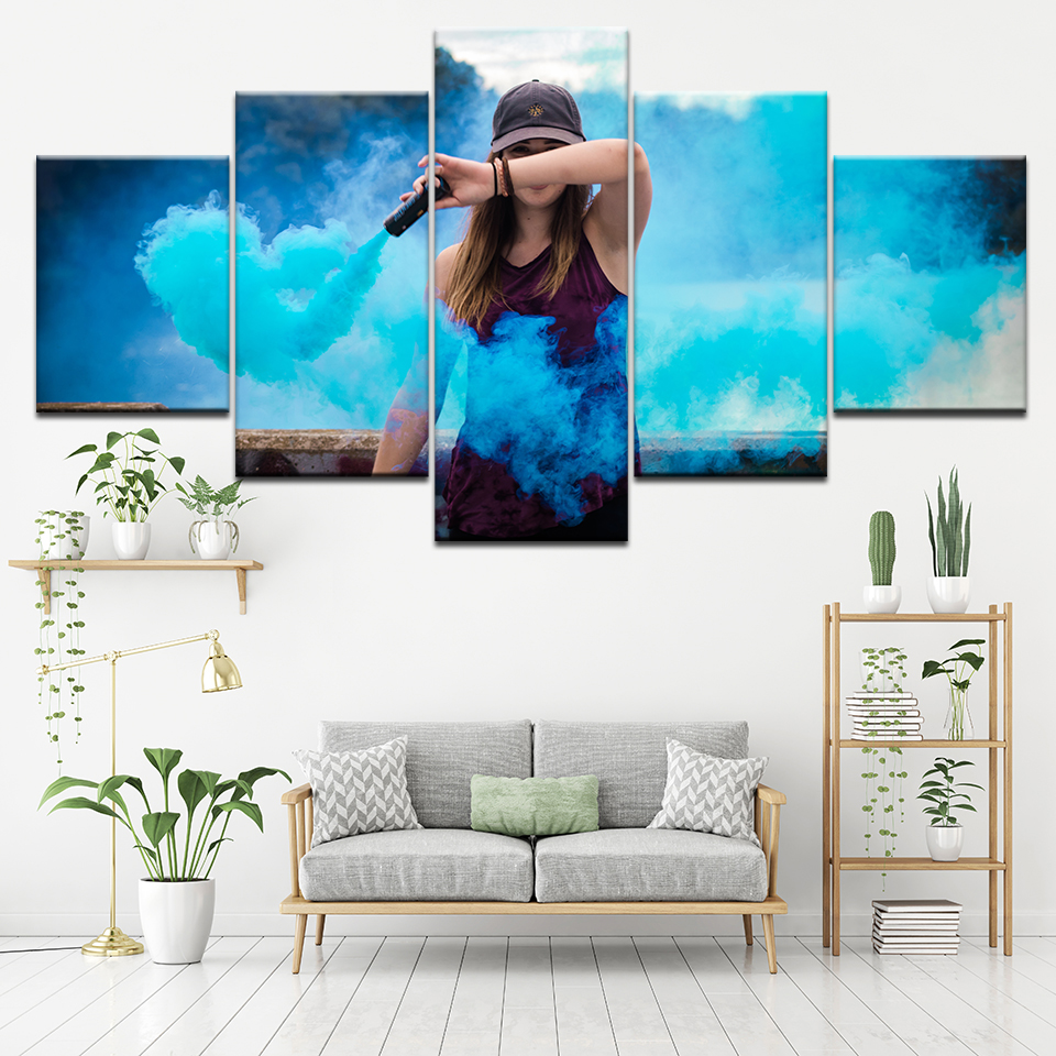 Canvas Painting shy girl Blue smoke 5 Pieces Wall Art ...