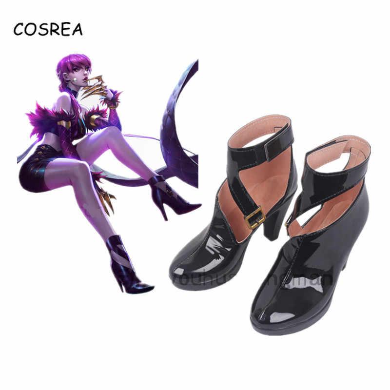 KDA Cosplay Yüksek Topuklu Kadın Kadın deri ayakkabı Rahat LOL AKALI Cosplay Bayanlar Ayakkabı Oyunu yarım çizmeler Topuklu