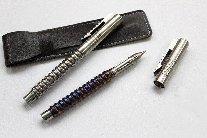 Espiral caneta titular liga de titânio edc defesa caneta tática assinatura caneta multi ferramentas tático janela quebrada caneta