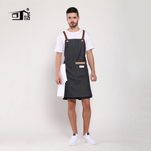 Original KEFEI High Quality Korean Unisex bib black denim apron chef work waiter for men pinafore