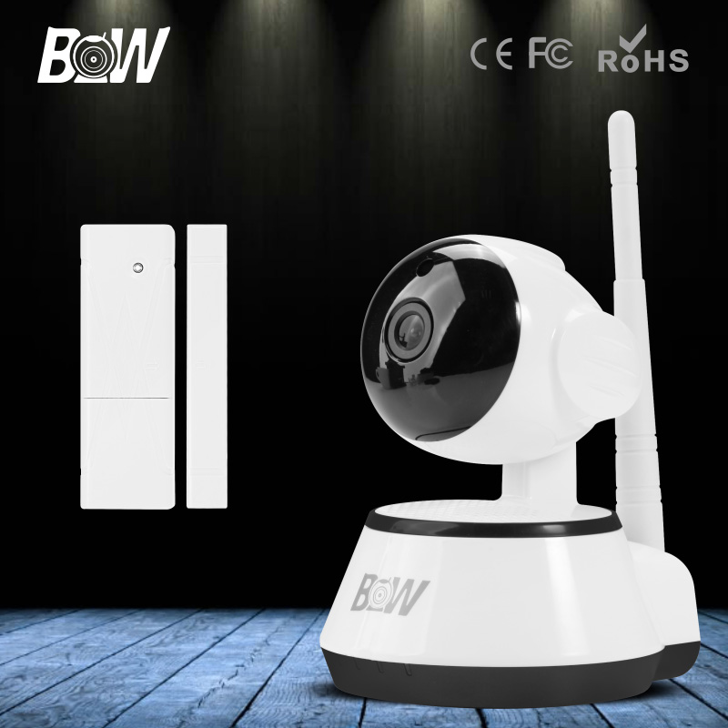 BW IR Wireless Wifi Network CCTV Onvif Indoor IP Camera P2P HD 720P 3.6mm Endoscope for IOS & Android & Pad APP with Door Sensor bw wireless wifi door