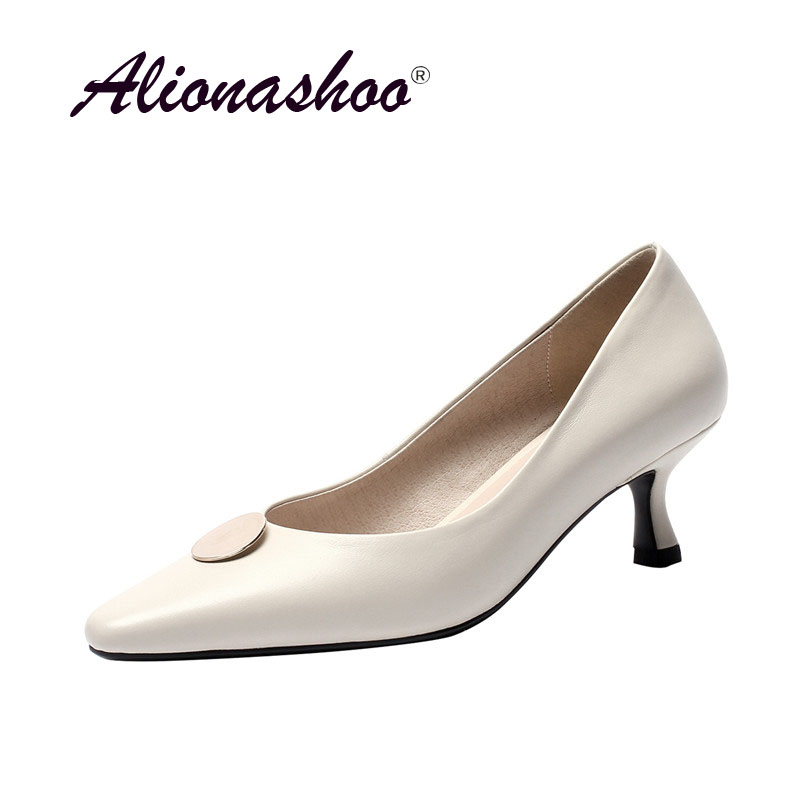 2019 Spring Autumn New Arrival Cow Leather Shoes Women Fashion Metal Pointed Toe Pumps For Ladies Dress Women Shoes Plus Size 43
